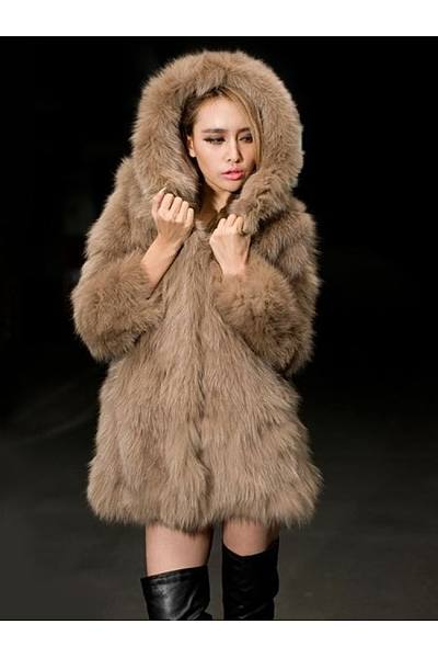 Faux Fur With Pockets Comfortable Hooded Coat