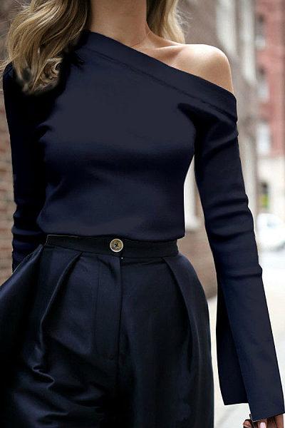 Fashion Pure Color Single Shoulder Long-Sleeved Shirt Top