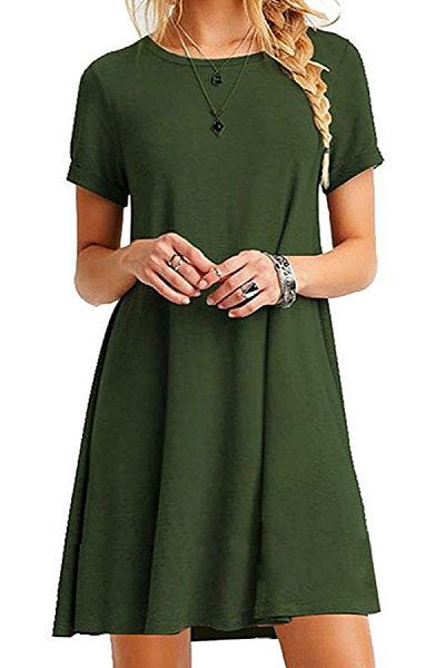 Round Neck  Plain Casual Dresses