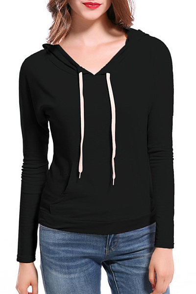 Cotton V Neck Patchwork Plain Long Sleeve Hoody