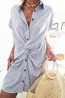 Casual Lapel Button Stripe Short Sleeve Twisted Dress