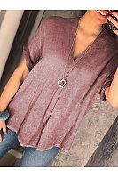 V Neck Plain Short Sleeve Blouses