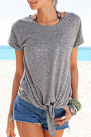 Round Neck Casual  Tie T-Shirt