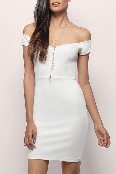 Round Neck Patchwork Plain Bodycon Dress