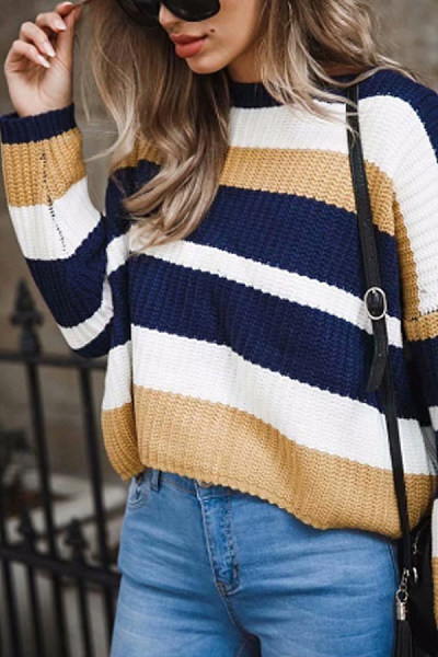 Striped  Long Sleeve Sweaters