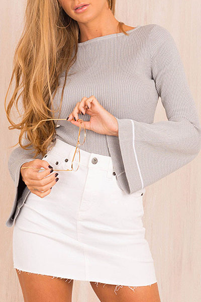 Round Neck  Striped  Bell Sleeve Sweaters