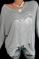 Round  Neck  Casual Sequin  Long Sleeve T-Shirts