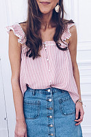 Fashion Stripe Ruffle Short Sleeve Buckle Vest