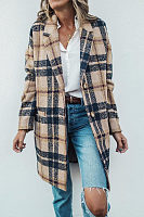 Fold Over Collar  Plaid Outerwear