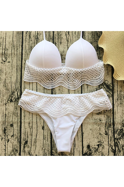 White Lace Bikini Beach Swimsuit