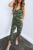 Spaghetti Strap  Camouflage  Sleeveless Jumpsuits