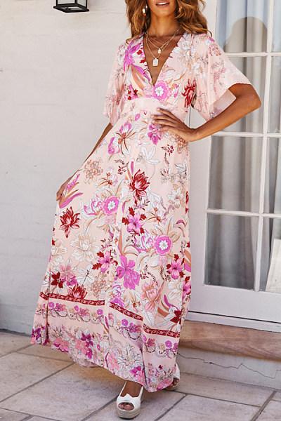 V Neck  Lace Up  Print  Short Sleeve Maxi Dresses