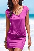 Round Neck  Plain  Short Sleeve Bodycon Dresses
