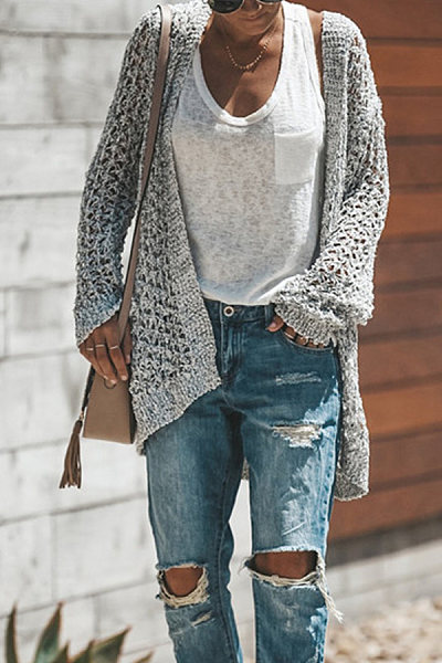 Casual  Asymmetric  Hem  Plain  Cardigans