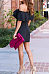 Off Shoulder  Cascading Ruffles  Plain  Short Sleeve Bodycon Dresses