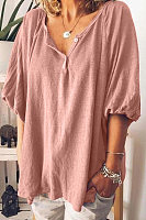 Round Neck  Decorative Buttons  Plain  Lantern Sleeve  T-Shirts
