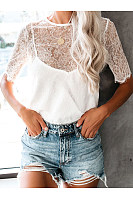 Sexy Hollow Out See-Through Short Sleeve Lace Top
