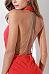 Deep V Neck  Backless  Plain Bodycon Dresses