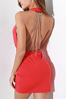 Deep V Neck  Backless  Plain Bodycon Dresses