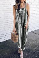 Spaghetti Strap  Striped  Sleeveless  Basic Jumpsuits
