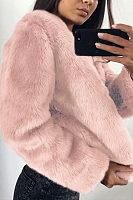 Faux Fur Collar  Fur Collar  Plain Outerwear