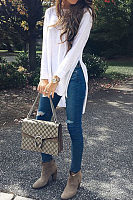 Round Neck  Asymmetric Hem Side Slit  Plain T-Shirts