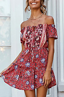 Off Shoulder  Printed  Short Sleeve Skater Dresses