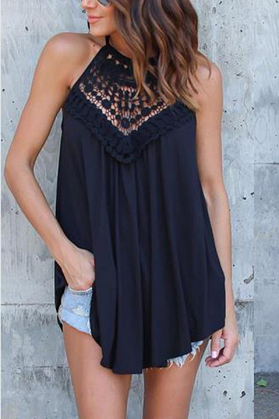 Halter  Asymmetric Hem  Lace  Vests