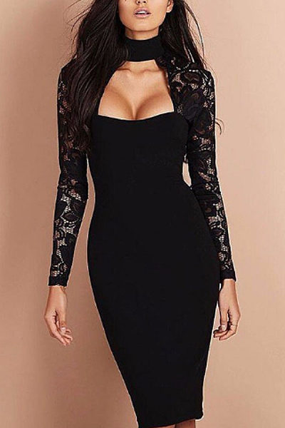 Halter  Hollow Out Plain Bodycon Dresses