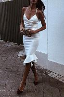 Sexy White Sleeveless Plain Bodycon Dress