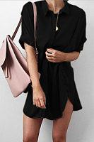Turn Down Collar  Asymmetric Hem  Plain  Half Sleeve Casual Dresses