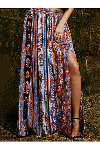 Long Fitted Slit  Print Skirts