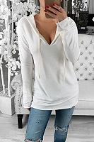 Fashion V Neck Loose Long Sleeve Hoodie