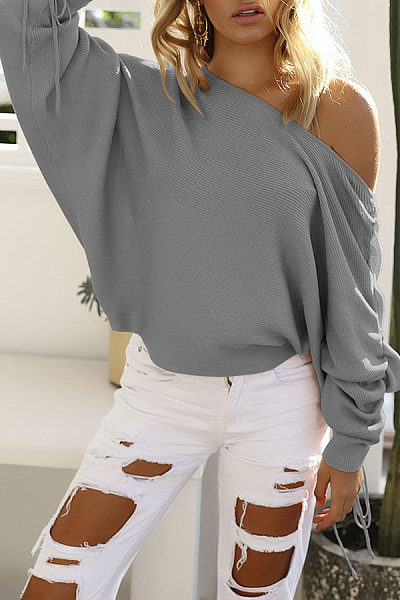 Open Shoulder  Drawstring  Plain  Batwing Sleeve Sweaters