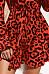 V Neck  Leopard Printed  Long Sleeve Skater Dresses