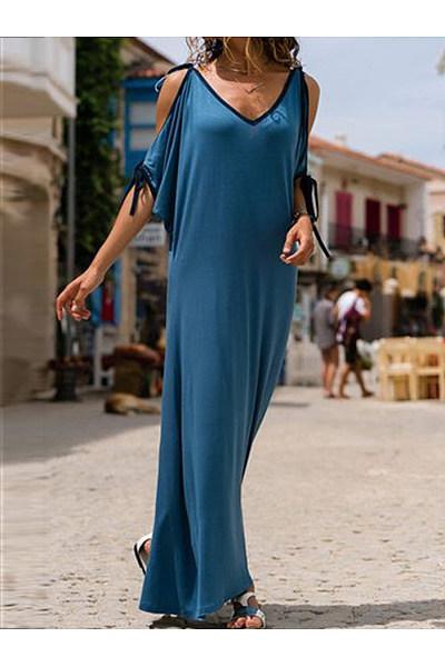 Spaghetti Strap  Contrast Trim  Plain Maxi Dress