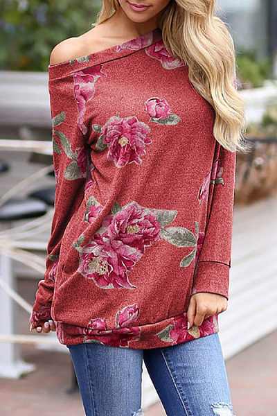 One Shoulder  Floral Printed T-Shirts