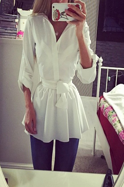 Turn Down Collar  Plain  Long Sleeve Casual Dresses