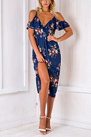 Spaghetti Strap  High Slit  Floral Printed  Short Sleeve Maxi Dresses