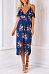 Spaghetti Strap  High Slit  Floral Printed  Short Sleeve Maxi Dresses