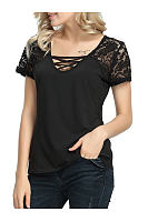 Summer  Cotton  Women  V-Neck  Decorative Lace  Plain Short Sleeve T-Shirts