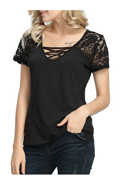 Summer  Cotton  Women  V-Neck  Decorative Lace  Plain Short Sleeve T-Shirts