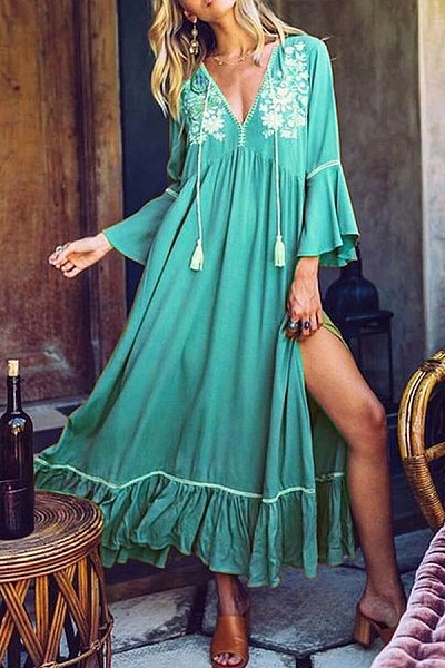 Deep V Neck Flare Sleeve Bohemian Maxi Dresses