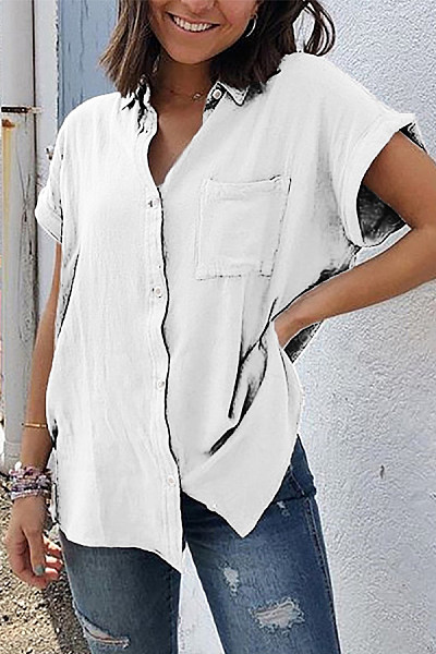 Summer Short Sleeve Pocket Solid Color Ladies Shirt