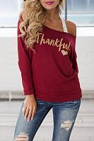 Open Shoulder  Letters T-Shirts