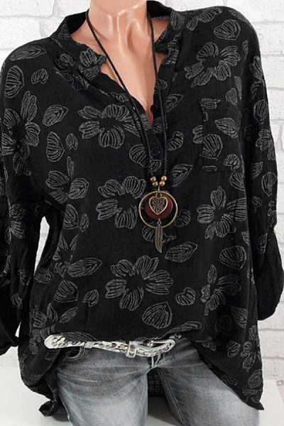 Casual Fold Collar Single-Breasted Floral Print Long-Sleeved Shirt