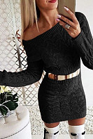 Word Collar  Plain Bodycon Dresses