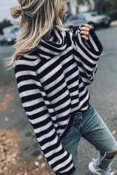 Cowl Neck  Striped Sweaters