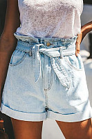 Rolled Belt Youth Denim Shorts