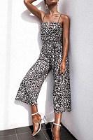Sexy V Neck Off-Shoulder Leopard Print Belted Jumpsuit